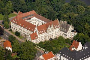 Aerial view, Alte Regierung, former government building, Minden, Minden-Luebbecke, North Rhine-Westphalia, Germany, Europe